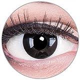 Funnylens Farbige schwarze Kontaktlinsen Black Out mit Stärke - weich ohne Stärke 2er Pack + gratis Behälter – 12 Monatslinsen - perfekt zu Halloween Karneval Fasching oder Fasnacht -3.00