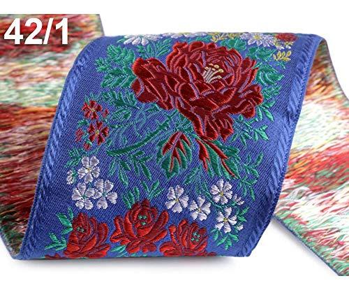 1m 42/1 Saphir Blau Trachtenborte Breite 10 Cm Polyester, Trachtenbänder, Besatzbänder, Trachtbänder Und Paspelbänder, Kurzwaren