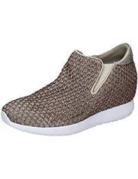 ANDIA Fora Sneakers Mujer Plata Negro Textil Cuero AD326 (35 EU) xRvk3
