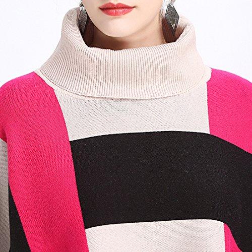 KAXIDY Pull à Col Haut Femme Chandail Châle à Manches Longues Bande Pulls Surdimensionné Knitting Beige/Rose rouge