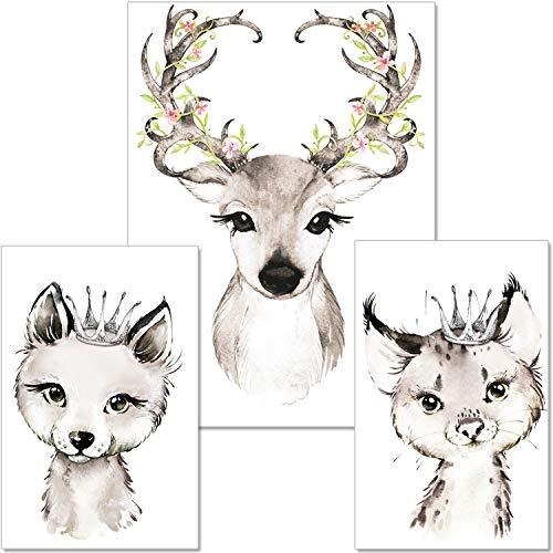 ARTpin® 3er-Set Poster Kinderzimmer Von Künstlerin - A4 Bilder Babyzimmer Im Skandinavischen Stil - Für Mädchen Junge - Fuchs Reh Luchs (P31)