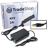 Trade-Shop Netzteil Ladegerät Ladekabel 42V 2A für 36V Akkus mit 5,5mm x 2,1mm Rundstecker für E-Bike Elektrofahrrad Pedelec Elektro Fahrrad Akkus zum Aufladen