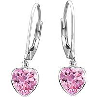 Orecchini da bambina in vero argento Sterling 925, a forma di cuore rosa