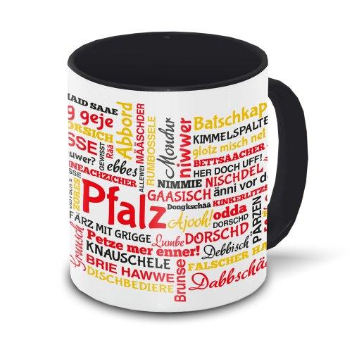 Pfalz-Tasse Tagcloud - weiß/schwarz - Tasse mit typischen Wörtern im pfälzischen Dialekt