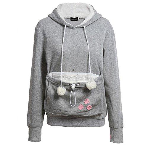YaoDgFa Damen Pullover Kapuzenpullover mit Katzen Hund Tasche Känguru Sack für halte deine Katze Sweatshirt Pulli Hoodie mit Kapuze Langarm Herbst Winter,Grau,Gr.-XL
