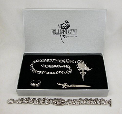 Final Fantasy VIII 5pc Set Halskette Ring Ohrringe Schlüsselanhänger Armband FF8 Cosplay Cloud (Lightning Kostüm Cloud Returns)