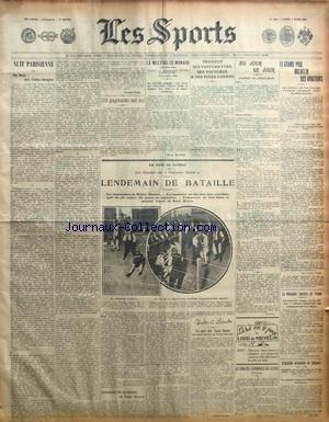 SPORTS (LES) [No 1195] du 09/03/1908 - LA COUPE MICHELIN POUR LES AVIATEURS - ON BOXE AUX FOLIES-BERGERE - LE MEETING DE MONACO - PEUGEOT - SES VOITURETTES - SES VOITURES ET SES POIDS LOURDS - BOXE - STANTON ET BROWN par Collectif