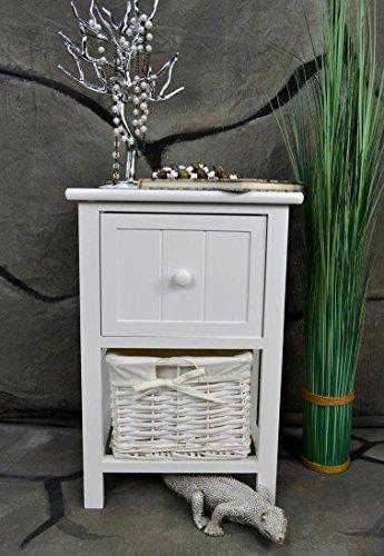 Livitat® Nachttisch Nachtschrank Landhaus Weiß 2 Schubladen Nachschränckchen Nachtkommode LV1084