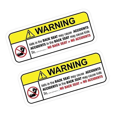 2X WARNING NO BACK SEAT Sticker Decal