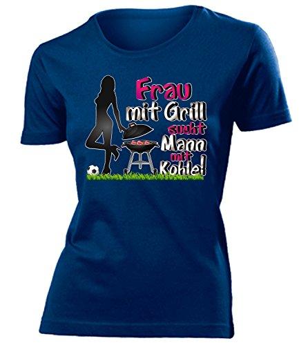 love-all-my-shirts Frau mit Grill Sucht Mann mit Kohle! 1742 Damen T-Shirt (F-N) Gr. XL