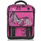 Premium Schulranzen KEANU Schulrucksack :: 25 Liter, Rückenpolster und Reflektoren (Butterfly Azalea Pink)