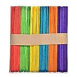 Chengstore 100pcs en Bois Multicolores Lollipop Craft Bâtons de Lolly Naturelle, coloré, 15 * 1.8 * 0.16cm