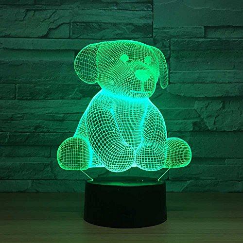 Goney Nachtlichter Lampen LED3D Puppet Fernbedienung Bunte Visual Stereo Touch Schalter Mode-Accessoires Tischlampe Mädchen Baby Kinderzimmer Schlafzimmer (Farbe : Colorful: Remote Control Touch) (Control-bild-licht Remote)