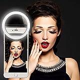 Mindkoo LED Selfie Anneau Macro-clip Equipé de 36 LED Haute luminosité Super Brillant Eclairage Supplémentaire 3 niveau de lumière ajustable compatible avec plupart téléphone portable et tablette iPhone/iPad/Huawei/Samsung/Xiaomi/Nokia Couleur Noir
