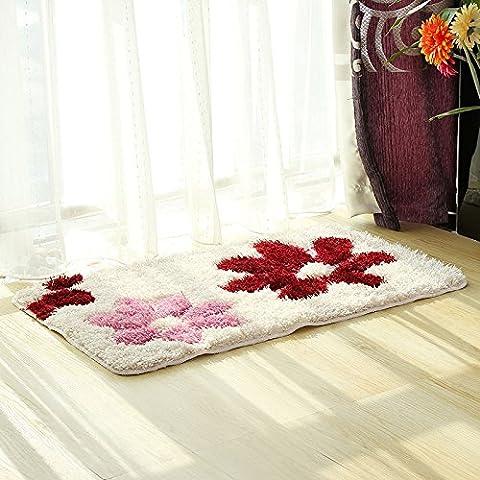 pragoo Floral Shag alfombra suave esponjosa alfombra área alfombra de pelo For Living Dormitorio, poliéster, Pink Red, 45*65cm