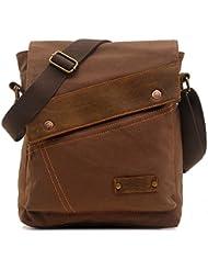 zatous Vintage Lienzo Bolsa de hombro Militar Messenger Bag Bolso de piel