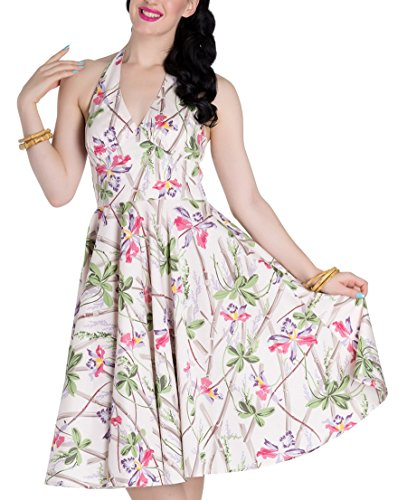 Hell Bunny BAMBOO Sticks & ORCHIDS Tiki Vintage DRESS Kleid Rockabilly Cremefarben mit Blüten