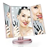 Easehold 1X/2X/3X Magnifying Illuminated Vanity Mirror, 21pcs Led Lights Touch Screen Tri-fold Tabletop Makeup Mirror (Rose Gold)