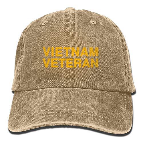 iqishengma Männer Frauen Vietnam Veteran Brief Vintage Washed Denim Baumwolle Baseball Cap Hut Papa Hut Mama Hut einstellbar großes Geschenk natürlich - Natürliche Einstellbare Hut