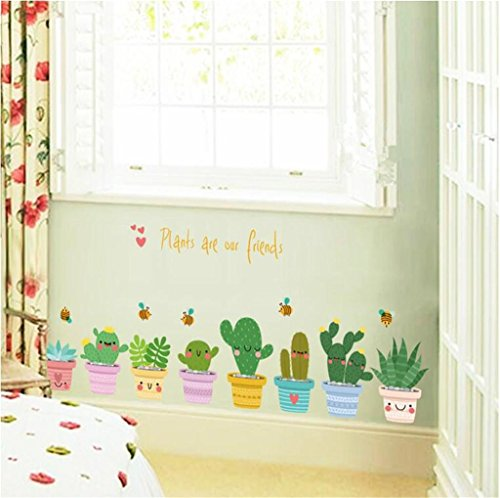LY-3 Stück Cute Potted Pflanzen Wandaufkleber Schränke Eingang Glastüren und Fenster Wohnzimmer Schlafzimmer TV Hintergrund Dekoration PVC Wandaufkleber , 45*60cm