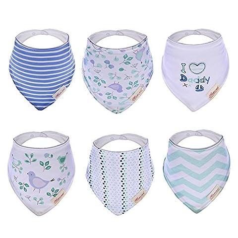 Hxhome Lot de 6bavoirs bandana absorbants pour bébés et tout-petits