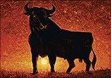 Artland Qualitätsbilder I Bild auf Leinwand Leinwandbilder Wandbilder 100 x 70 cm Tiere Wildtiere Stier Malerei Rot A1PO Andalusischer Stier