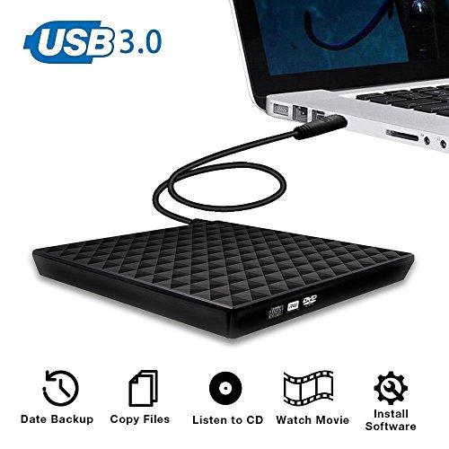 External CD/DVD Drive, Vansky USB 3 0 Slim External CD RW  Writer/Burner/Reader/Player with Touch Control for Laptop,Notebook,PC  Desktop Computer,