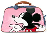 ililily Disney Mickey Mouse Color Block Weekender Duffle Travel Bowler Bag , Baby Pink