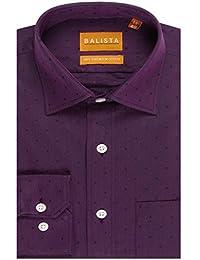 BALISTA MEN'S PURPLE SELF DESIGN FORMAL SHIRT