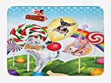 Kids Bath Mat, Colorful Fantasy Land Rainbow Candy Trees Cat Dog Fairy Girl Boy Flying in Suitcase, Plush Bathroom Decor Mat with Non Slip Backing, 23.6 W X 15.7 W Inches, Multicolor