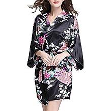 SaiDeng Ropa De Dormir Pijama Lencería Kimono Corto De Satén De Estampado Floral Para Mujer