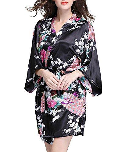 SaiDeng-Ropa-De-Dormir-Pijama-Lencera-Kimono-Corto-De-Satn-De-Estampado-Floral-Para-Mujer