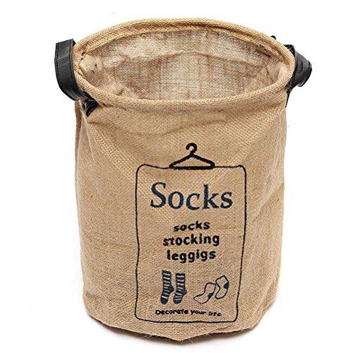 Pixnor Wäschesack mit Griffe Jute waschen Kleidung Organizer Korb Behälter Lagerung (Socken)