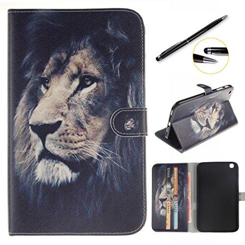 lotuslnn Samsung Galaxy Tab 3 8.0 Hülle - Ultra Slim Leder Tasche Hülle Etui Schutzhülle Für Samsung Galaxy Tab 3 8.0 Zoll T310 T311 T315 (Galaxy Tab 3 8.0,Schwarzer Löwe)
