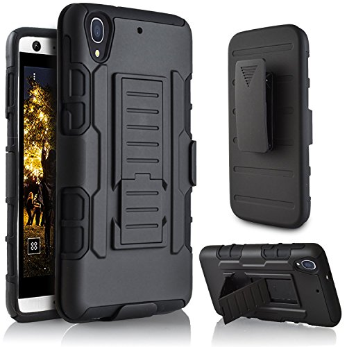 HTC Desire 626G Plus Case, Ziaon(TM) Heavy Duty Robot Case Black Rugged Impact Armor Hybrid Kickstand Cover with Belt Clip Holster Case for HTC Desire 626 Dual Sim, 626, 626G, 626G Plus