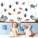 Anself DIY Wallpaper Mural Pegatinas de pared extraíbles Vinilos adhesivos Mundo Submarino Varios océano de los pescados