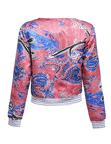 ZEARO Retro Damen Jacke Blazer Anzug Blumen Schlank ZIP Up Jacket Outwear Mantel - 4