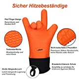 NOSIVA Ofenhandschuhe, Silikon 490 ℃ Extrem Hitzebeständige  Grillhandschuhe BBQ Handschuhe zum Kochen, Backen, Barbecue Isolation Pads, 1 Paar, Orange