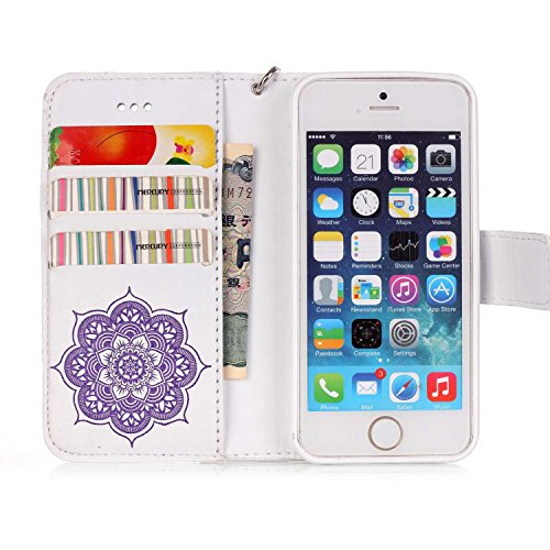 Coque iPhone SE,Coque iPhone 5S,Coque iPhone 5,Coque iPhone SE / 5S / 5, ikasus® Coque iPhone SE / 5S / 5 Bookstyle Étui Housse en Cuir Case, Motif Gaufrage Feather Campanula Dreamcatcher Etui Housse  Blanc + violet