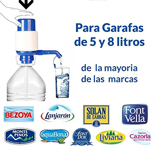 Foto de Dispensador de agua manual para garrafas de MovilCom® | Bomba compatible con botellas (PET) de 2,5, 3, 5, 6, 8 y 10 litros | para botellas con el tapón diámetro 38mm y 48mm