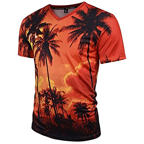 Leapparel Mens Allover Coconut Tree Printed V Neck Graphic T Shirts Tees Clothes M