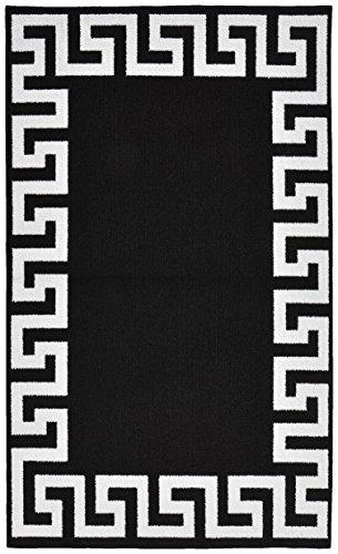 Girlande Teppich Griechischer Schlüssel Rahmen Bereich Teppich Traditionell schwarz / weiß