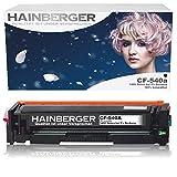 Hainberger® Lot de 4 Toners compatibles avec HP CF540A CF541A CF542A CF543A pour Color Laserjet Pro M-280nw M-281fdn M-281fdw M-254nw M-254dw - 203A (2) Black