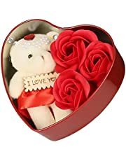 Webelkart Rose 10 INCHES with Gift Box and Love Teddy Bear Heart Shaped Box - Best Gift for Loved Ones, Valentine's Day, Anniversary, Birthday, Rose Day, Friendship Day