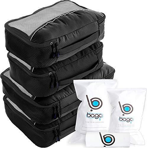 Bago Packing Cubes - 4-teiliges Packwürfel Set für Reisen - Plus 6 Koffer Organizer Zip Beutel - Schwarz
