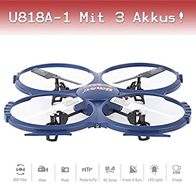 Drohne with PRO HD Camera CAM RC Quadrocopter UFO Winner ORIGINAL UDI U818A - 1 Ready-To Fly 3D Flip 4.5 2.4 GHz 3 Channel Ready to Fly St.AKKU by UDI RC