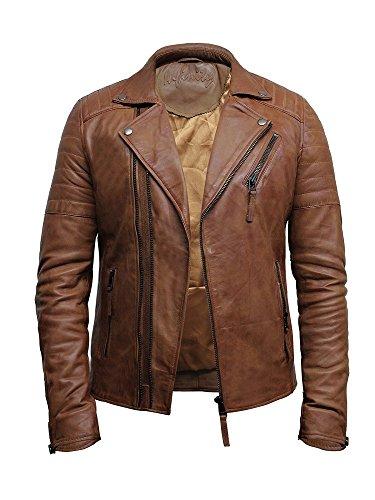 Herren Biker bräunen Echt Leder Motor Biker Jacke Brando Style (Bräunen, XL) (Jacke Braune Leder Echt)