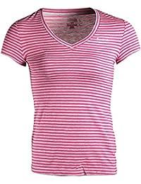 Reebok Elements Womens Ladies Striped Shirt Tee Pink