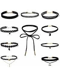 Moda Accessories - Fashion Stylish Rhinestone Pendant Choker Necklace 10pcs set for Women and Girls