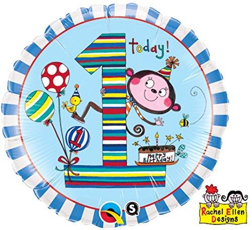 paduTec Zahlenballon Ballon Folienballon Luftballon - 1 Jahr Alter - Happy Birthday Geburtstag Junge - geeignet zur befüllung mit Luft oder Helium Gas - UNGEFÜLLT - zum selber füllen (1 Alter Luftballons)
